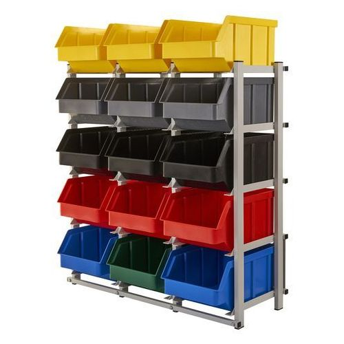 Array Regał warsztatowy/garażowy z pojemnikami 15 szt. - stojący, jednostronny