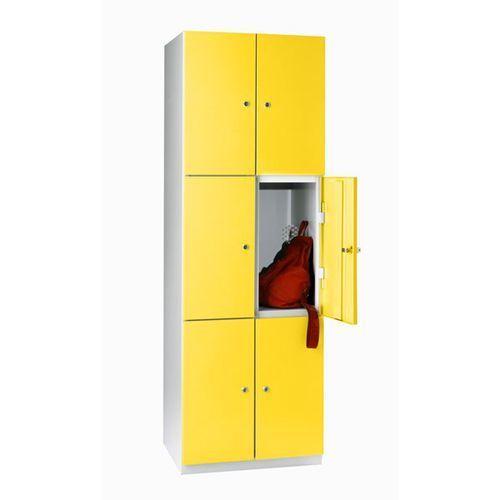 Szafka ze stali, szafka do przebieralni, 2 przedziały, drzwi cynkowo-żółte. stab marki Eugen wolf