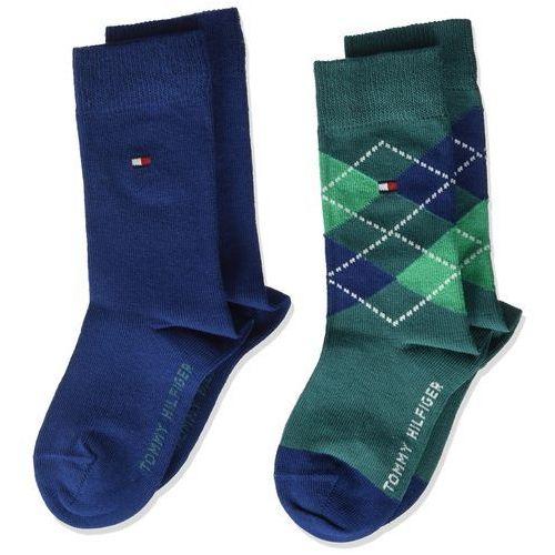 Tommy Hilfiger chłopcy skarpety TH Kids oryginalne Argyle Sock 2P - 23-26, kolor niebieski