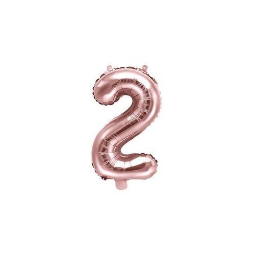 Balon foliowy cyfra 2 złoty róż - 35 cm marki Party deco