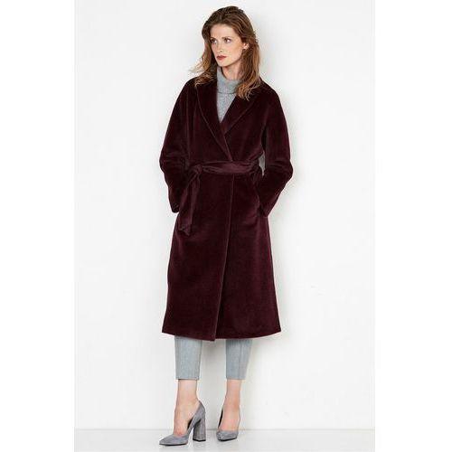 Długi płaszcz z suri alpaki wiązany paskiem w kolorze bordo - Patrizia Aryton