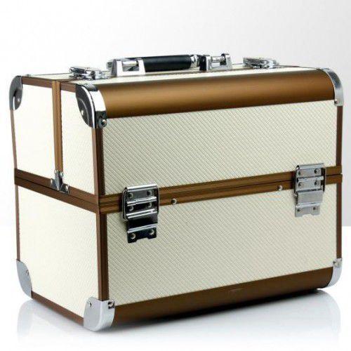 Kuferek rozkładany jednoczęściowy multikolor kawowo-śmietankowy romby, 39370