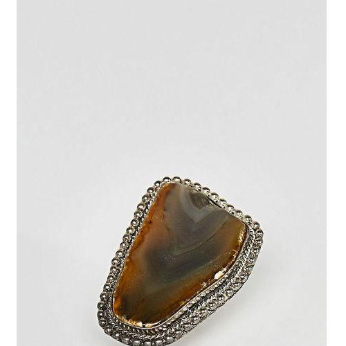 Sacred hawk statement semi-precious stone ring - gold