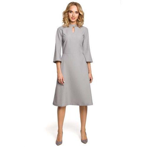 Szara Sukienka Wizytowa z Rozkloszowanymi Rękawami, w 5 rozmiarach