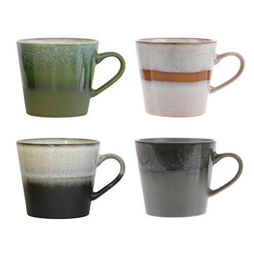 HK Living Zestaw 4 ceramicznych kubków do cappuccino 70's ACE6752-SP (8718921024440)