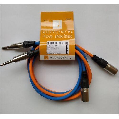 4audio monitor set zestaw przewodów do monitorów studyjnych 2 x 1,5m xlrm trs (niebieski i pomarańczowy)