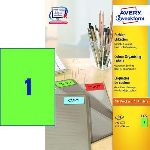 Etykiety A4 trwałe zielone 210mm x 297mm 100 arkuszy Avery Zweckform 3472