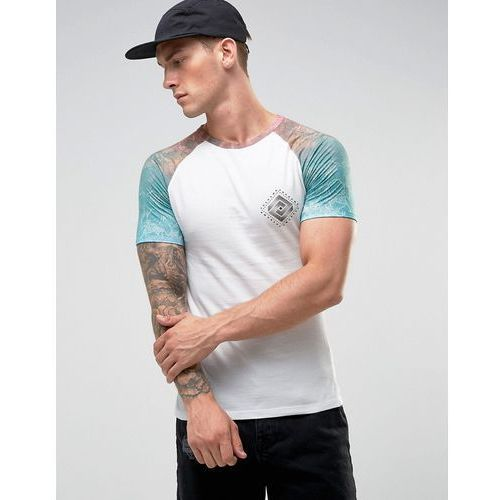 muscle fit raglan t-shirt with printed sleeves in white - white marki River island
