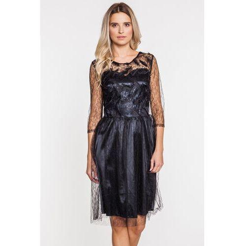 Tiulowo-koronkowa sukienka wieczorowa - Margo Collection, kolor czarny