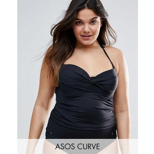 mix and match tankini bikini top with eyelets - black marki Asos curve