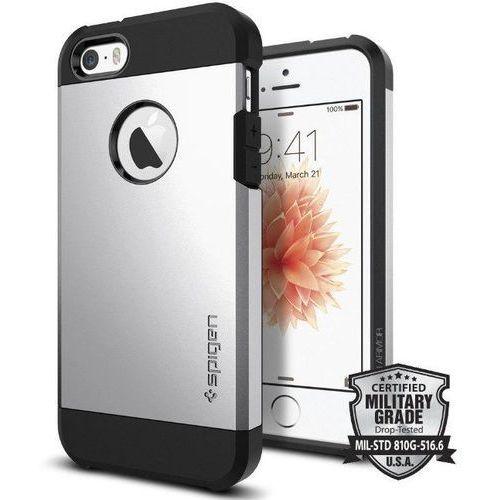 SGP - Spigen Tough Armor Srebrny | Pancerna obudowa dedykowana dla modelu Apple iPhone 5 / 5S / SE - Srebrny (8809353617826)