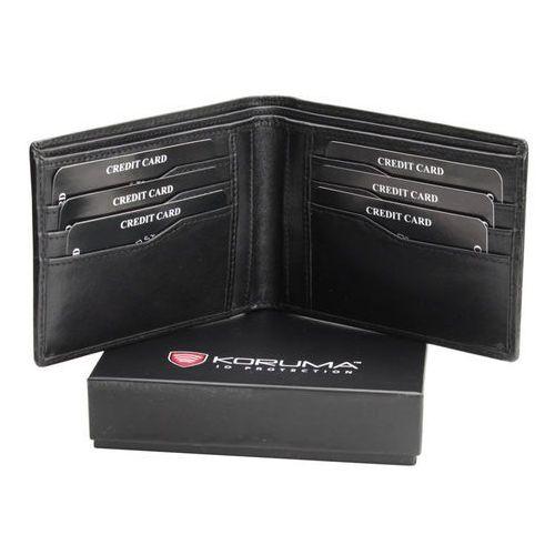 ✅ skórzany portfel z ochroną kart zbliżeniowych paypass rfid (czarny) - czarny połysk marki Koruma®