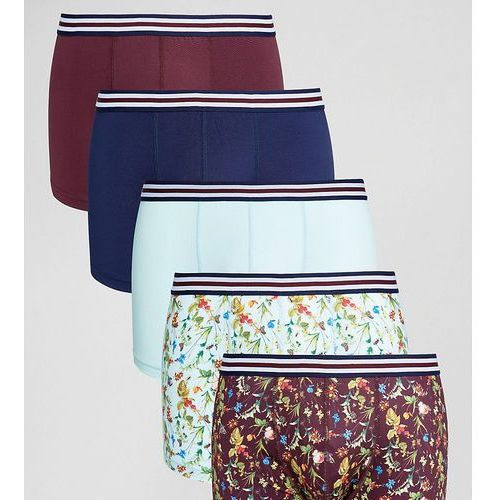 ASOS Trunks With Floral Print Microfibre & Stripe Waistband 5 Pack SAVE - Multi