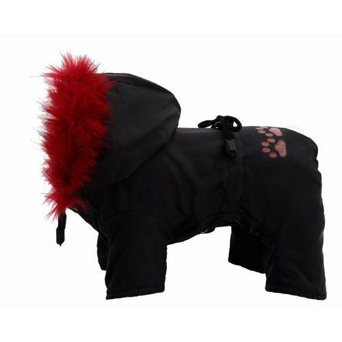 kombinezon z01 dla psa czarny z czerwonym futerkiem końcówka kolekcji marki Grande finale