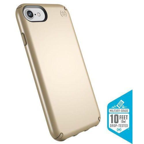 SPECK PRESIDIO METALLIC ETUI OBUDOWA IPHONE 8 / 7 / 6S / 6 (PALE YELLOW GOLD METALLIC/CAMEL BROWN), kolor brązowy