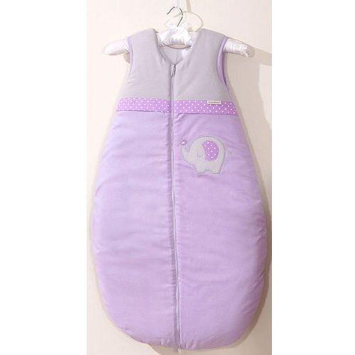 MAMO-TATO Śpiworek niemowlęcy do 18 m-ca haftowany Słonik fioletowy, kolor fioletowy