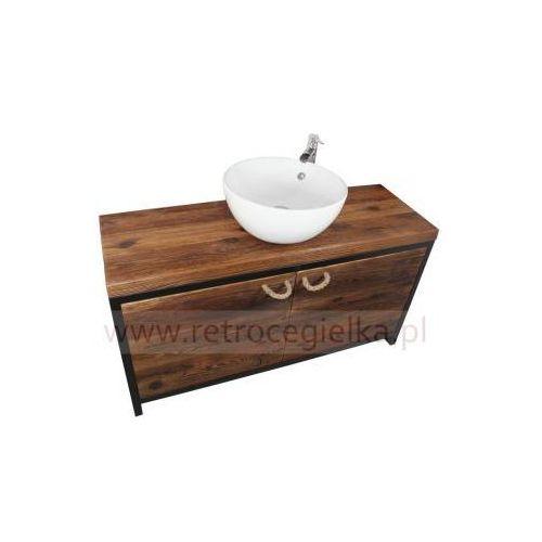 Szafka łazienkowa, stare drewno sosnowe, drzwiczki, stalowa rama marki Holy wood