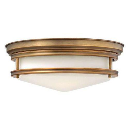 Hinkley Plafon lampa sufitowa hk/hadley/f br elstead okrągła oprawa szklana retro brąz szczotkowany biała