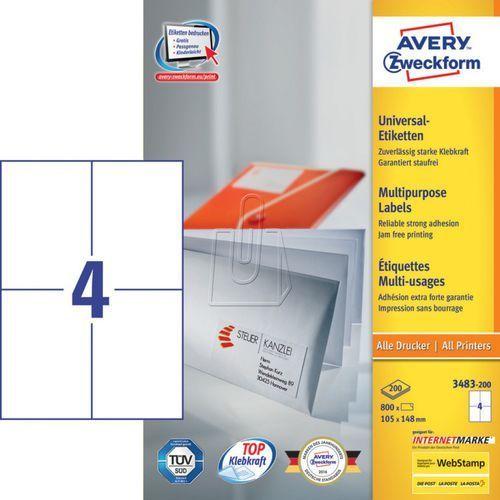 Etykiety uniwersalne Avery Zweckform trwałe 105 x 148mm 200 ark./op. 3483-200 (4004182249604)