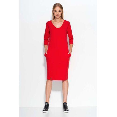 Makadamia Czerwona sukienka dzianinowa midi z wsuwanymi kieszeniami