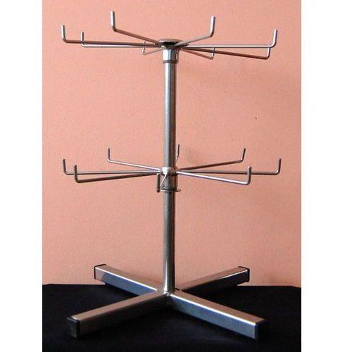 Obrotowy, dwupoziomowy, metalowy stojak do prezentacji np. breloków - srebrny