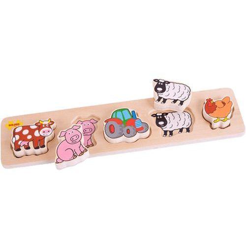BIGJIGS Drewniane szerokie wkładane puzzle – Farma (grubość 2 cm) - produkt z kategorii- Puzzle