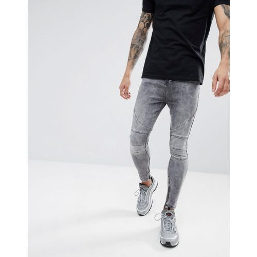 drop crotch jean with biker knee detail and zip ankle - grey marki Religion