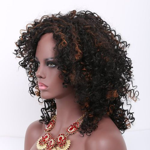 Mixed color medium afro curly side bang synthetic wig wyprodukowany przez Sammydress