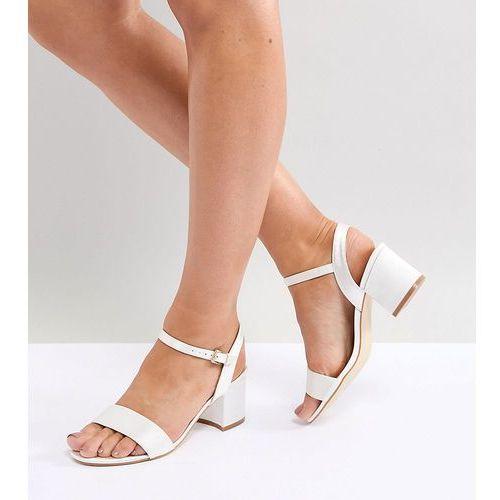 London Rebel Wide Fit Bridal Block Heeled Sandals - Cream, kolor beżowy