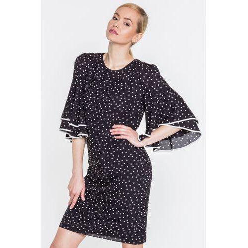 Czarna sukienka w groszki - L'ame de Femme, 1 rozmiar