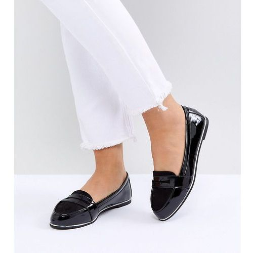New look wide fit mix material patent loafer - black
