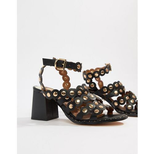heeled sandals with scallop detail in black - black, River island
