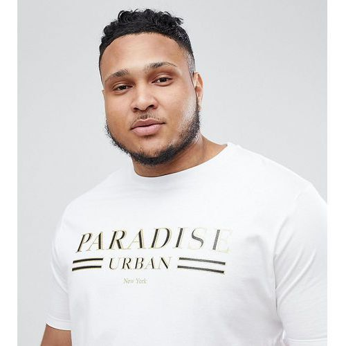 River Island Big & Tall T-Shirt With Paradise Print In White - White, kolor biały