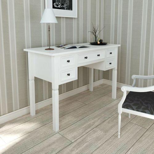 Vidaxl biurko białe z 5 szufladami (8718475909293)