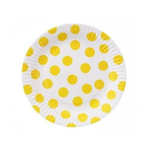 Talerzyki papierowe małe grochy żółte marki Godan