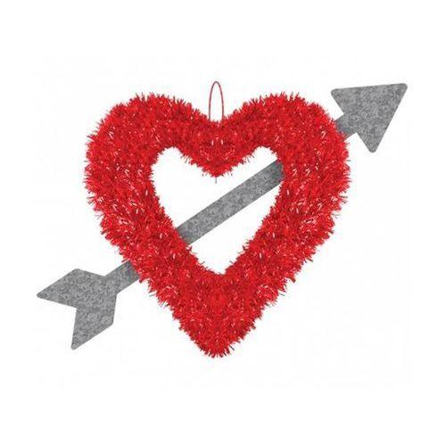 Dekoracja na walentynki wiszące Serce przebite strzałą (0013051531478)