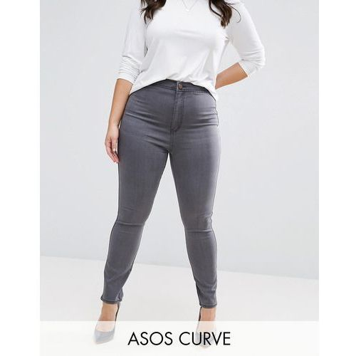 rivington high waist denim jeggings in cara grey - grey marki Asos curve
