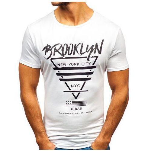 T-shirt męski z nadrukiem biały Denley KY09, kolor biały