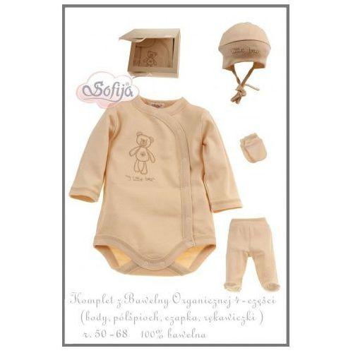 Sofija Komplet 4-częściowy z bawełny organicznej z haftem misia (body kimono, półśpioszki, czapeczka, rękawiczki),