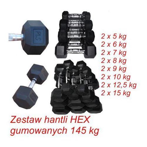 Zestaw hantli HEX gumowanych 145 kg