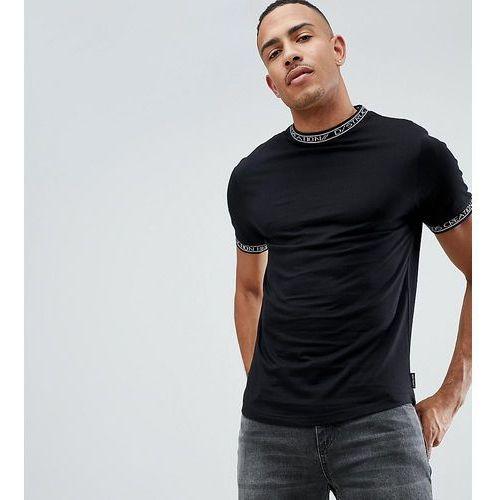 tall slogan ribbed ringer single jersey t-shirt - black marki D-struct
