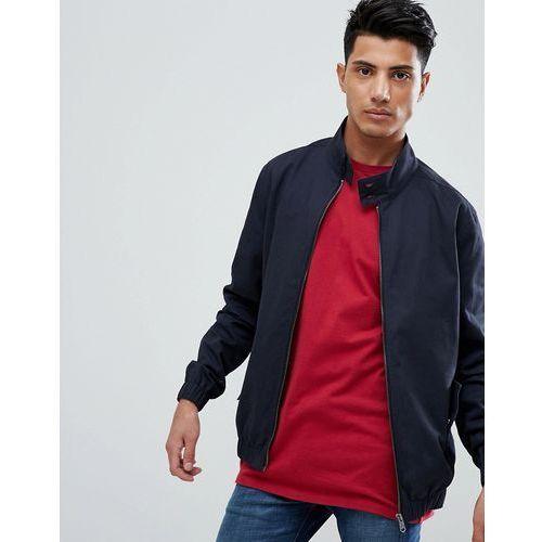 Threadbare cotton check lined harrington jacket - navy