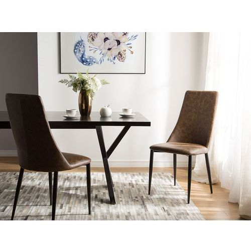 Beliani Zestaw do jadalni 2 krzesła brązowe clayton (4260586353679)