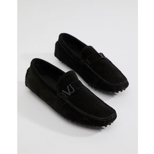 jeans driving shoes in black suede - black marki Versace