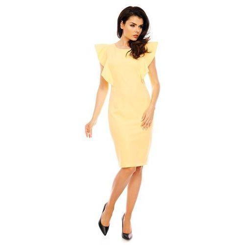 a3e6cf1d52 Żółta Koktajlowa Dopasowana Sukienka z F..