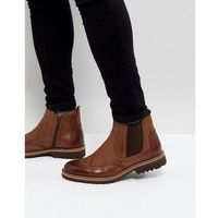 leather brogue chelsea boots in tan - tan marki Pier one
