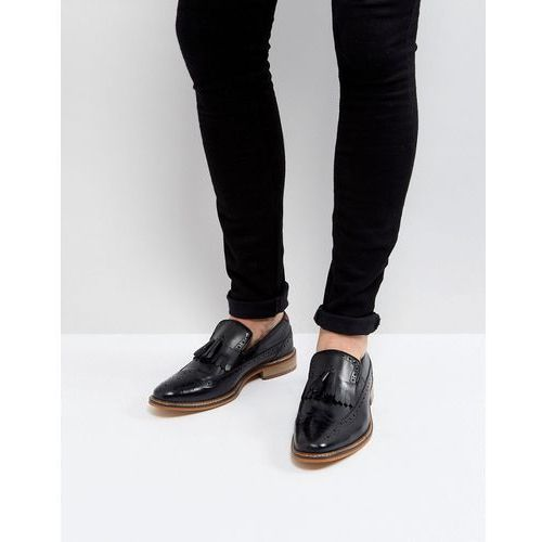 ASOS Loafers In Black Leather With Natural Sole And Fringe Detail - Black