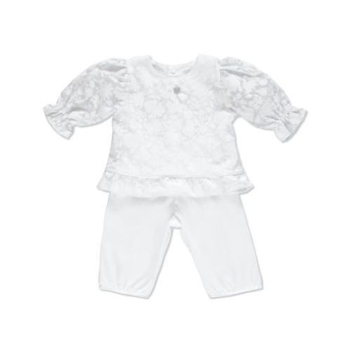 girls baby dwuczęściowy zestaw do chrztu kolor biały marki Carlina