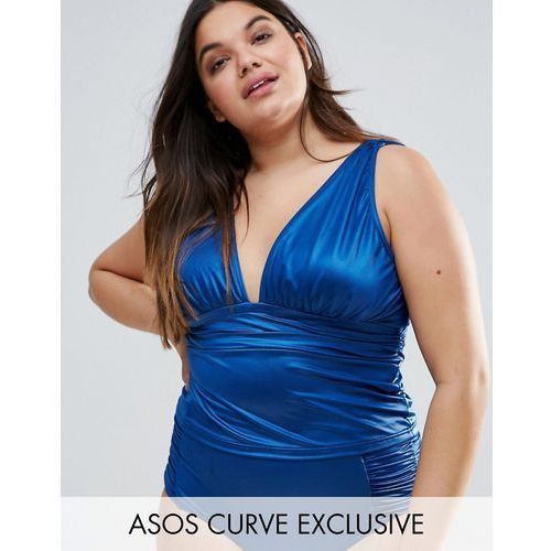 Asos curve  mix and match deep band plunge tankini bikini top - green