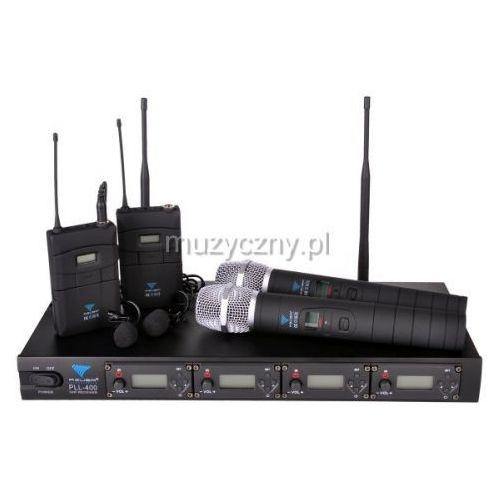 pll 400, poczwórny mikrofon bezprzewodowy 2x doręczny + 2x krawatowy marki Azusa